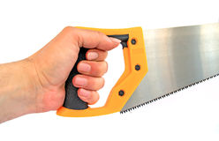 Hand keeps saw Stock Images
