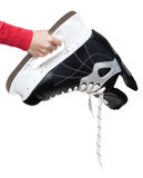 Hand Keeps Skate For Hockey Royalty Free Stock Photo