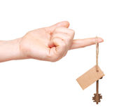 Hand and key with blank label Royalty Free Stock Photography