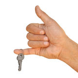 Hand with key on a white background Stock Images