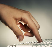 Hand On Keyboard Royalty Free Stock Photo