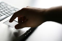 Hand on keyboard royalty free stock image