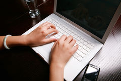 Hand on keyboard Stock Image