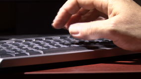 Hand on the keyboard. Computer literacy at work. Keyboard. Hand. Fingers stock video footage