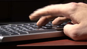 Hand on the keyboard. Computer literacy at work. Keyboard. Hand. Fingers stock footage
