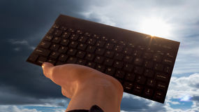 Hand with keyboard Stock Photography