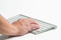 Hand on a keyboard Royalty Free Stock Image