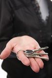 Hand with keys. Woman hand with keys on palm Stock Photography