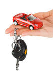 Hand with keys and car Stock Photography