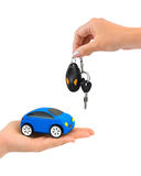 Hand with keys and car. Isolated on white background Stock Image