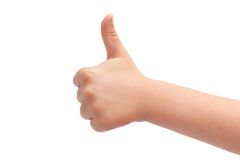 Hand of kids hand gesture of thumbs up. Isolated on white background Royalty Free Stock Image
