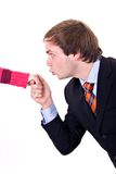 Hand Kiss. Young man with suit and tie, kissing a lady's hand stock photo