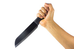 Hand with kitchen knife isolated Royalty Free Stock Photography