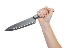 Hand with kitchen knife Stock Image