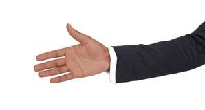 Hand klaar voor handdruk op wit wordt geïsoleerd dat Royalty-vrije Stock Foto