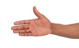 Hand klaar voor handdruk op wit wordt geïsoleerd dat Stock Afbeelding