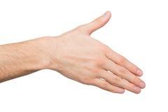 Hand klaar voor handdruk op wit wordt geïsoleerd dat Royalty-vrije Stock Foto's