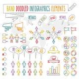 Hand klottrade infographicsbeståndsdelar Royaltyfri Foto