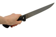 Hand with knife Stock Photography