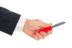 Hand with knife multitool Stock Images