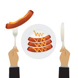 Hand with a knife and sausages on a plate. stock illustration