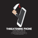 Hand With Knife Threatening Phone Concept Royalty Free Stock Images
