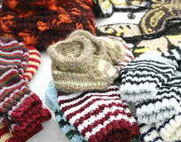 Hand knitted baby booties Royalty Free Stock Photography