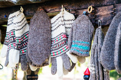 Hand Knitted bulgarian traditional socks and gloves Stock Photography