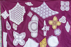Hand-knitted lace tablecloths -Perfect decoration or centerpiece for a table Stock Photo