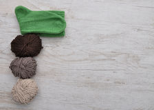 Hand-knitted sock and wool Stock Photos