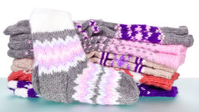 Hand-knitted woolen socks Royalty Free Stock Photos