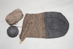 Hand knitting with circular wooden, wool hats Royalty Free Stock Images