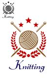 Hand knitting emblem Stock Photo
