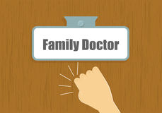 Hand knocking to doctor`s door illustration. Family doctor visit concept. Royalty Free Stock Image