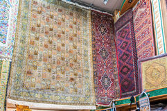 Hand knotted persian carpets. On display in a shop Mutrah Souk, in Mutrah, Muscat, Oman, Middle East Stock Images