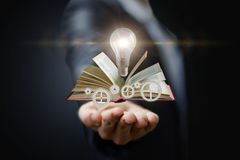 In hand knowledge of the ideas and mechanism . In hand knowledge of the ideas and mechanism of business management royalty free stock photo