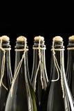 Hand korkade och band champagne buteljerar royaltyfri foto