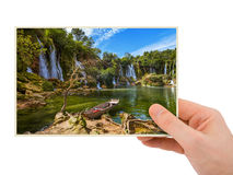 Hand and Kravice waterfall in Bosnia and Herzegovina (my photo) Royalty Free Stock Photo