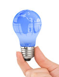 Hand and lamp with globe Stock Photos