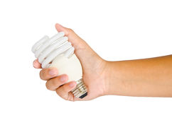 Hand with lamp and on white background Royalty Free Stock Photo