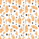 Hand language signs seamless pattern Royalty Free Stock Image