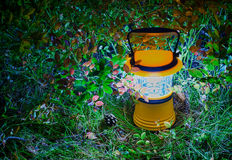 Hand lantern in blueberry leaves, HDR. Luminous hand lantern surrounded by foliage of blueberry on the ground. HDR Royalty Free Stock Image