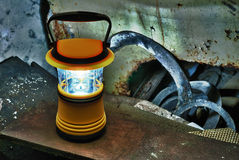 Hand lantern on rubbish, HDR Royalty Free Stock Image