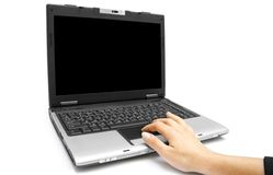 Hand on the laptop Stock Photo