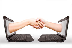Hand laptop. Royalty Free Stock Photography