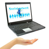 Hand and Laptop Royalty Free Stock Images