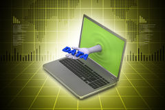 Hand through the laptop showing data Royalty Free Stock Image