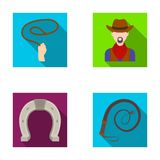 Hand lasso, cowboy, horseshoe, whip. Rodeo set collection icons in flat style vector symbol stock illustration web. Stock Image