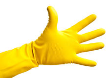 Hand in a latex glove Stock Images