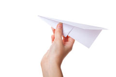 Hand launching paper airplane Royalty Free Stock Photo